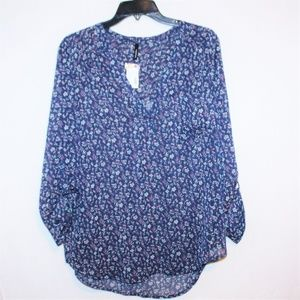 Maurices sheer chiffon floral roll tab sleeve top